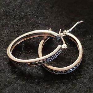Marcasite Oval Hoop Earrings